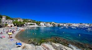 Main view of `Es Llaner Gran` beach in Cadaqués village, Catalonia, Spain Stock Photography