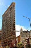 Main view of The Flatiron Building, a typical NYC landmarked building located at Manhattan, NYC stock images