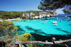 Main view of `Macarelleta` beach, one of the most beautiful spots in Menorca, Balearic Islands, Spain Royalty Free Stock Image