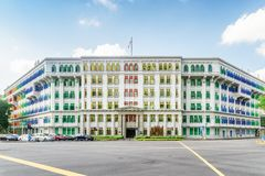 Main view of the Old Hill Street Police Station, Singapore. Singapore - February 19, 2017: Main view of the Old Hill Street Police Station. The colorful building stock image