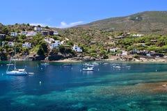 Main view of `Sa Conca` beach in Cadaqués village, Costa Brava, Mediterranean Sea, Catalonia, Spain Royalty Free Stock Image