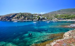 Main view of `Sa Conca` beach in Cadaqués village, Costa Brava, Mediterranean Sea, Catalonia, Spain Royalty Free Stock Photo