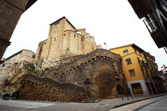 Main view of San Miguel church in Estella, Navarra. This beautiful village is the final stop of stage 5in the Camino de Santiago Stock Photography