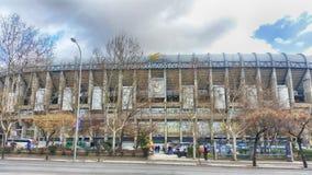 Facade of the Santiago Bernabeu stadium of Real Madrid. Main view of the Santiago stadium Bernabeu del Real madrid from the Paseo de la Castellana royalty free stock image