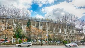 Facade of the Santiago Bernabeu stadium of Real Madrid. Main view of the Santiago stadium Bernabeu del Real madrid from the Paseo de la Castellana stock photo