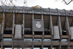 Santiago Bernabeu Stadium in Madrid, Spain. Main view of soccer stadium in Madrid Spain, in winter stock photo