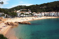 Main view of Tamariu beach and village. This is one of the most wonderful spots of the Spanish mediterranean seaside Royalty Free Stock Photo