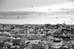 The main view of Vilnius Old town from its hills with air balloo Stock Photography