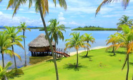 Main view of Yandup Island lodge cabins Panama. Royalty Free Stock Photos