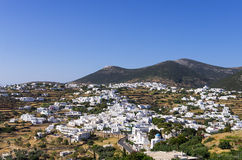 The main village in Sifnos island, Cyclades, Greece Stock Photos