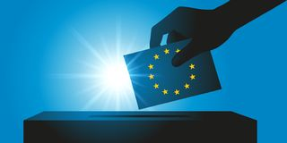 Symbol of the election of MEPs with an elector depositing his ballot in the ballot box. vector illustration