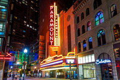 The main Washington Street in downtown Boston at night Royalty Free Stock Photos