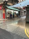 Main water pipe broken at Des Voeux West, Hong Kong Stock Images