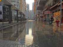 Main water pipe broken at Des Voeux West, Hong Kong Royalty Free Stock Images