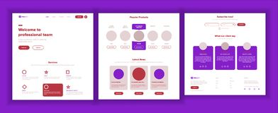 Main Web Page Design Vector. Website Business Reality. Landing Template. Creative Project. Information Tools. Financial Stock Photo