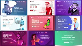 Main Web Page Set Design Vector. Website Business Graphic. Landing Template. Future Energy Project. Card Credit. Main Web Page Set Design Vector. Website Stock Image