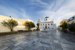 Main white blue orthodox church of Panagia Platsani, in the vill Stock Images