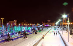 The main winter skating rink of Moscow at the All-Russian Exhibition Center, Russia Stock Photos