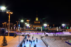 The main winter skating rink of Moscow at the All-Russian Exhibition Center, Russia Royalty Free Stock Photos