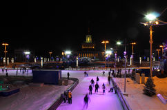 The main winter skating rink of Moscow at the All-Russian Exhibition Center, Russia Royalty Free Stock Images
