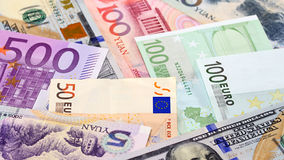 Main word currency Yuan, US Dollar and Euro bank notes Stock Photography