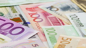 Main word currency Yuan, US Dollar and Euro bank notes, sliding video. Main word currency Yuan, US Dollar and Euro bank notes business background, sliding video stock video
