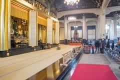 The Main Worship Hall in the Tsukiji Honganji Temple. Tokyo, Tsukiji Japan - NOV 18, 2016 : Amida Buddha is enshrined within the central altar in the Main Royalty Free Stock Image