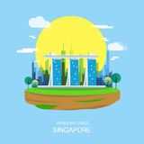 Maina bay sands landmark and attractive city in Singapore. stock illustration