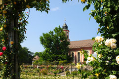 Mainau church and rose garden Royalty Free Stock Photo