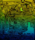 Mainboard. PC multicolored creative motheboard closeup Royalty Free Stock Photos