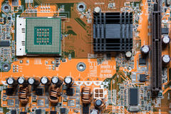 A mainboard  Main board,cpu motherboard,logic board,system board or mobo board Close up of electronics circuit board Stock Photography