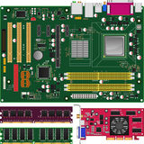 Mainboard,Memory and Graphics Card. Layered vector illustration of Mainboard,Memory and Graphics Card with white background Royalty Free Stock Images