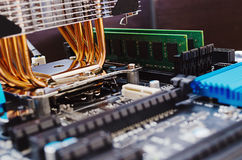 Mainboard and memory Royalty Free Stock Photo