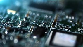 Mainboard motherboard close up camera drive stock footage