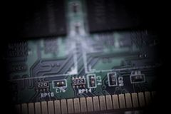 Mainboard pamięć w makro- zakończeniu w górę zdjęcia royalty free