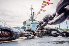 Maindeck de navire de guerre de marine de musée Photographie stock libre de droits