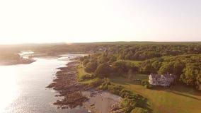 Maine Aerial Coastline Homes almacen de metraje de vídeo