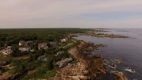 Maine Aerial Coastline Homes stock footage