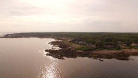 Maine Aerial Coastline Homes stock video footage