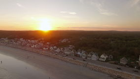 Maine Aerial York Beach Sunset arkivfilmer