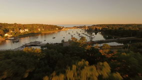Maine Aerial York Harbor stock footage