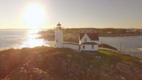 Maine Aerial York Sunset stock video