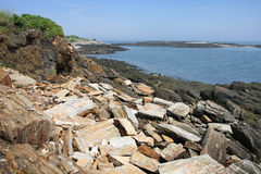 Maine Atlantic Ocean Coast. View of the rocky coast of Maine and the Atlantic ocean at Land'd End point Stock Photo