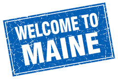 Maine blue square welcome to stamp Royalty Free Stock Photos