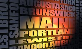 Maine cities list. Image relative to USA travel. Maine cities and places names cloud. 3D rendering Stock Photos