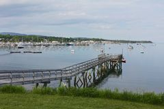 Maine Coast Bar Harbor near Acadia National Park. East of Acadia National Park entrances , boats are docked in quiet local coves on the atlantic coast at Bar Stock Images