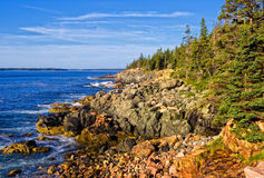 Maine Coast. Desert Island, Acadia N.P. Maine with blue sky and clouds stock photography