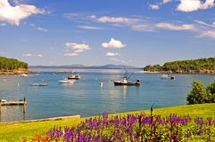 Maine coastal harbor. A view of the beautiful, peaceful harbor of Bar Harbor, Maine, on a clear, summer day Stock Image