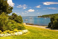 Maine coastline. A view of the beautiful, peaceful harbor of Bar Harbor, Maine, on a clear, summer day Stock Images