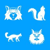 Maine coon cat profile icons set, simple style stock illustration